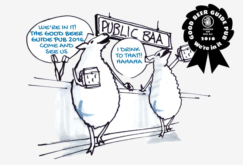 The Blue Raddle - Sheep at bar joking - GOOD BEER GUIDE