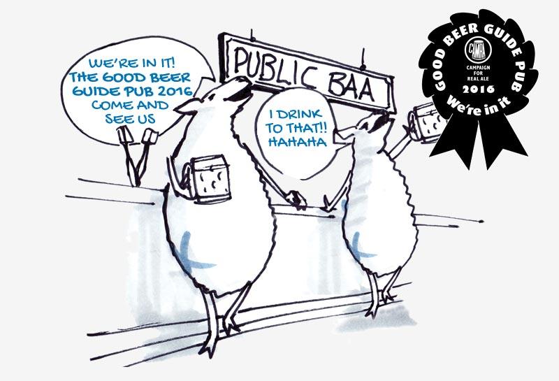 The Blue Raddle - Sheep at bar joking - GOOD BEER GUIDE